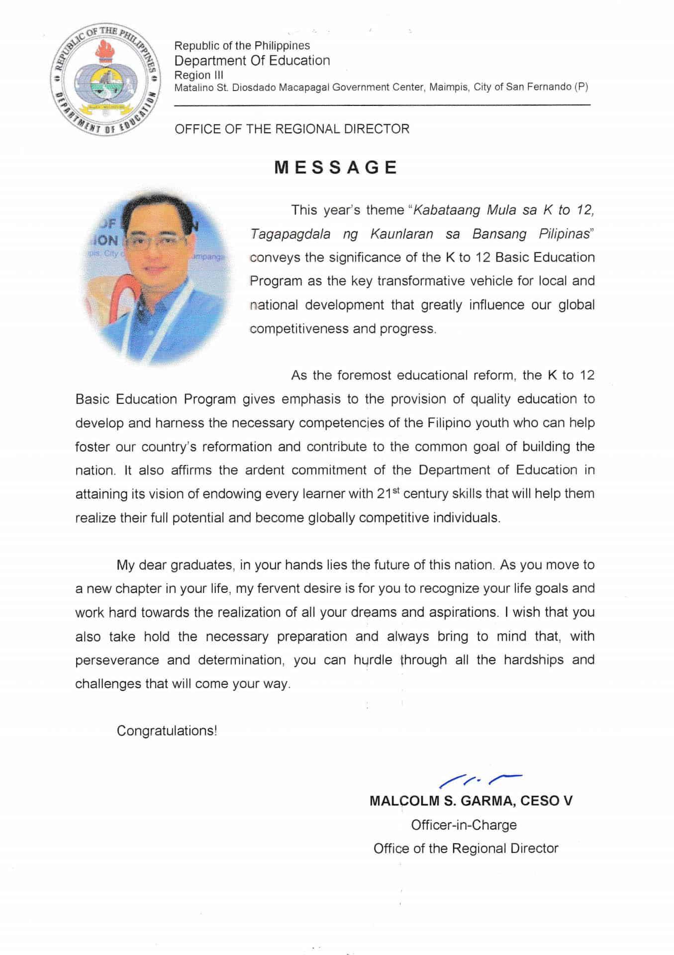 Graduation Message Of Regional Director Malcolm Garma Teacherph