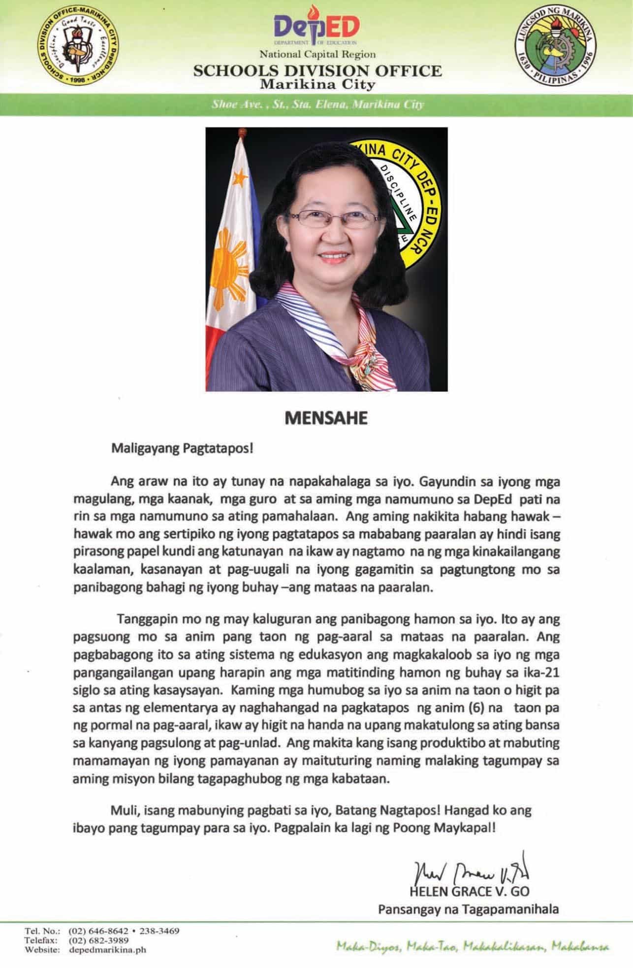Graduation Message of Schools Division Superintendent Helen Grace Go