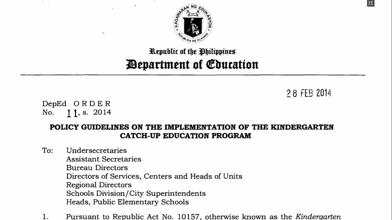 Deped kindergarten catch up education program kcep teacherph yadclub Image collections
