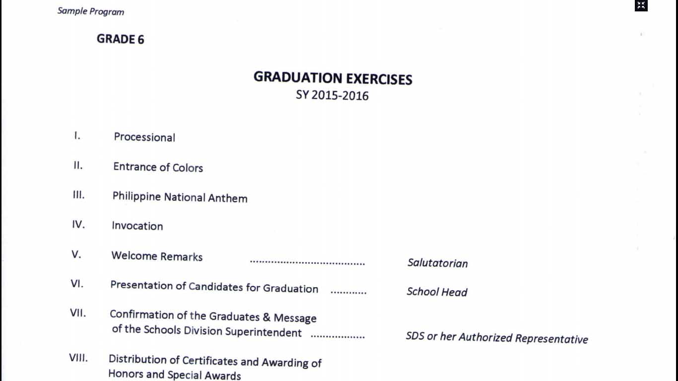 Program Flow for Graduation of Grade 6 and Completion ...