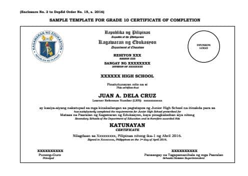 Sample Template for Grade 10 Certificate of Completion