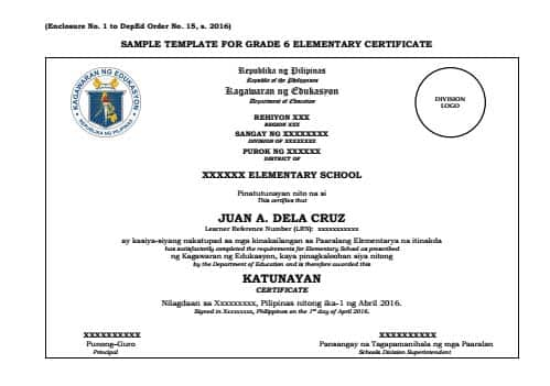 Sample Template for Grade 6 Elementary Certificate