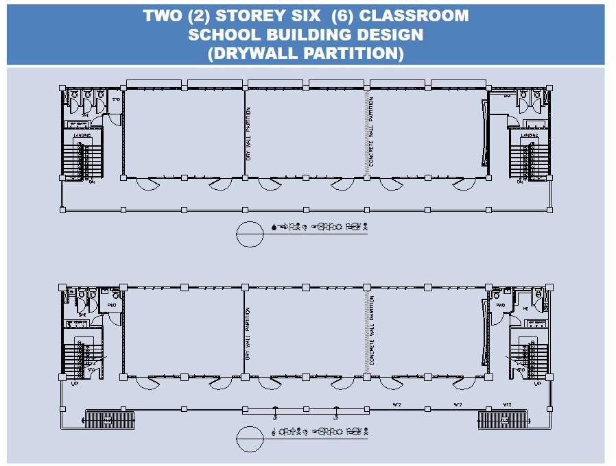 Two Storey Six Classroom School Building Design Drywall Partition