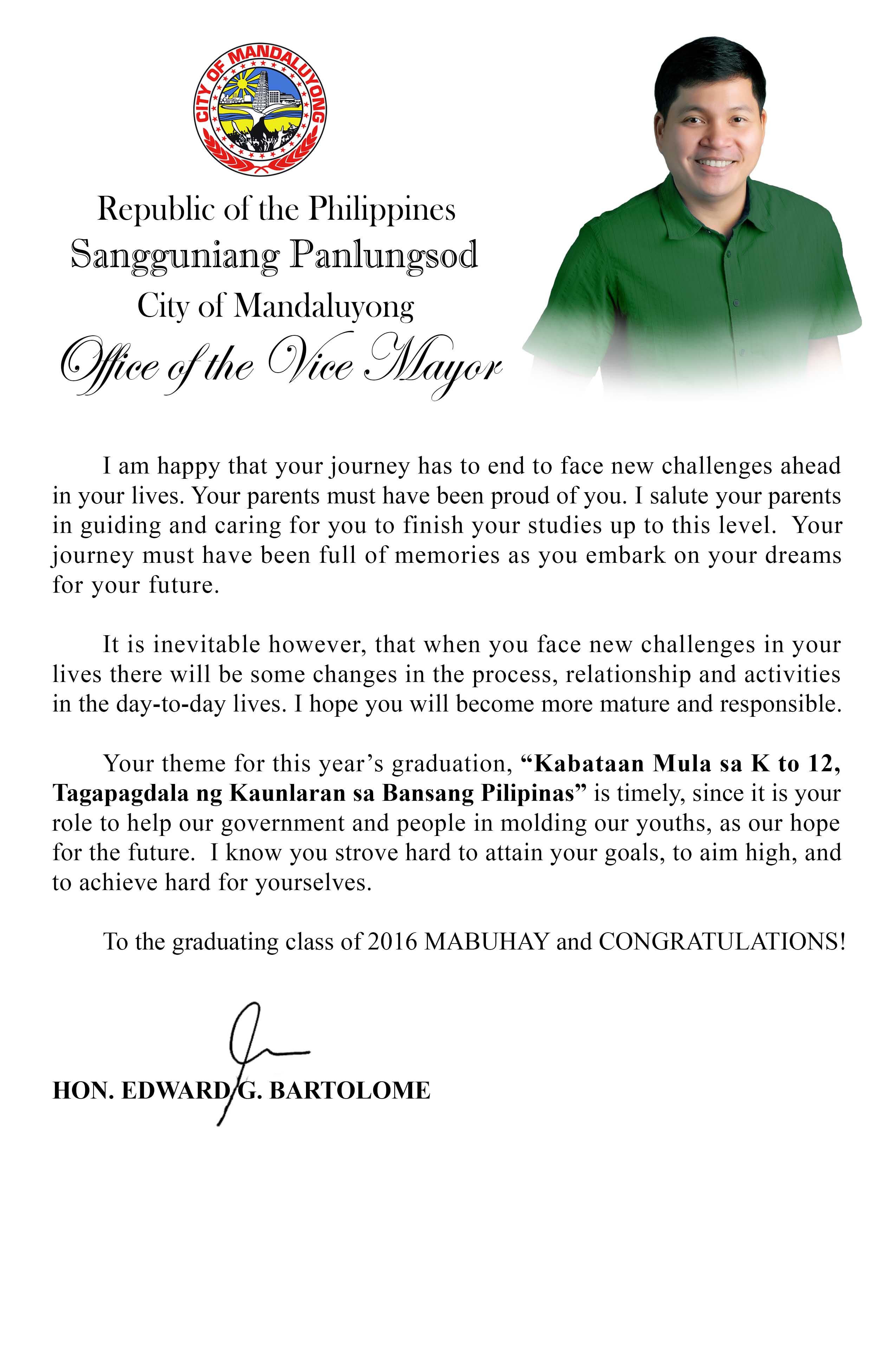 Graduation Message Of Vice Mayor Edward Bartolome Teacherph