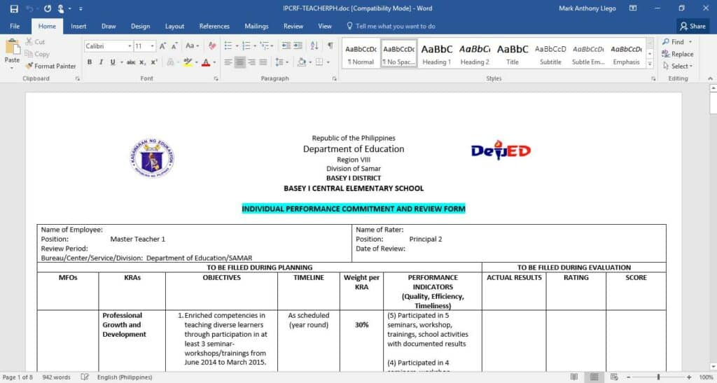 Individual Performance Commitment and Review Form (IPCRFs) for Teacher I - III
