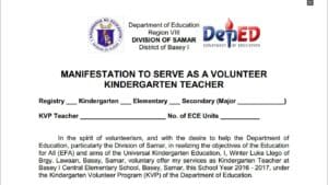 Manifestation to Serve as a Volunteer Kindergarten Teacher