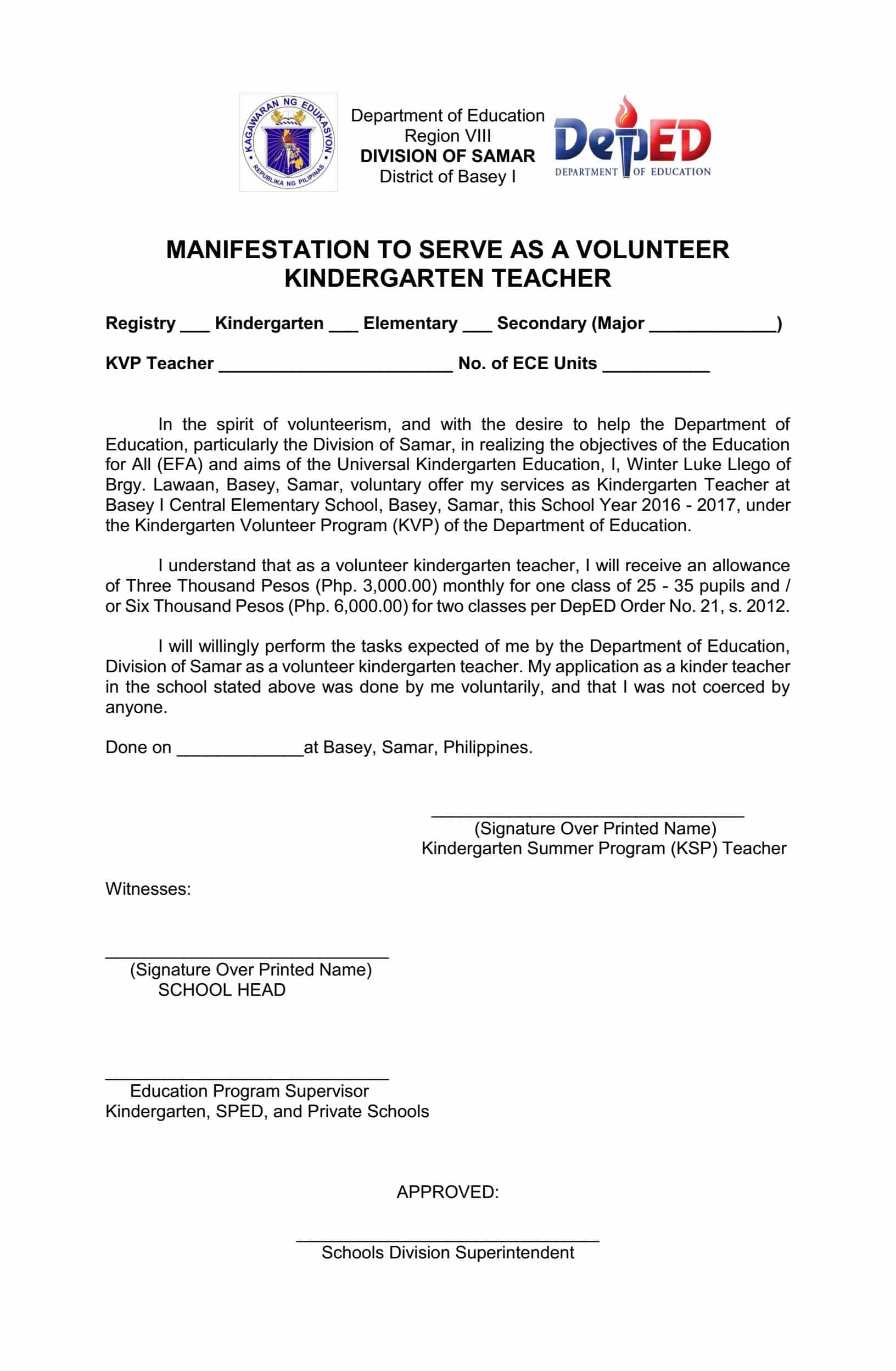 Application Letter For Teacher Deped Sample Application