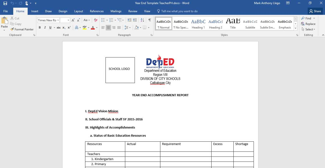 Download Template On Year End Accomplishment Report (.docx File)  Accomplishment Report Format