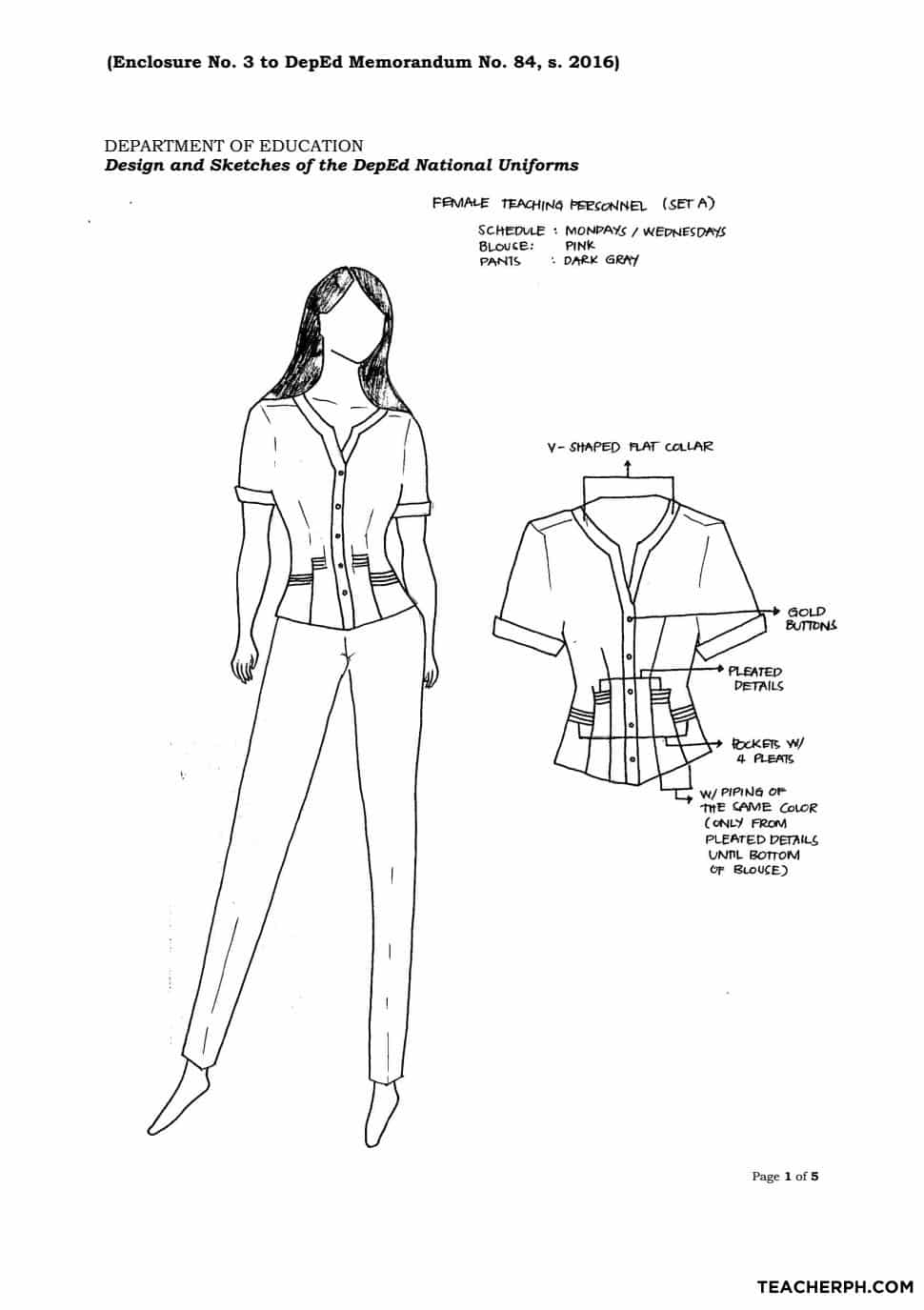 additional guidelines on the deped national uniforms for teaching design and sketches of the 2016 deped national uniforms