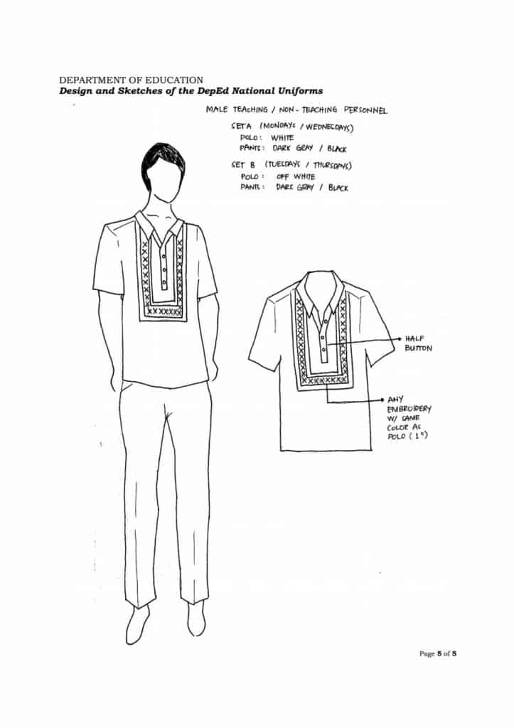 DepEd Male Teaching Non Teaching Personnel Uniform