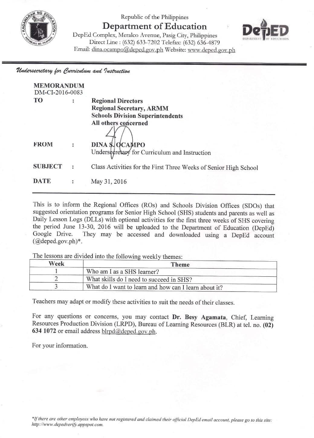 school memorandum sample