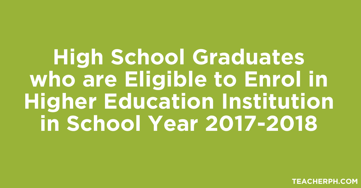 High School Graduates who are Eligible to Enrol in Higher Education Institution in School Year 2017-2018