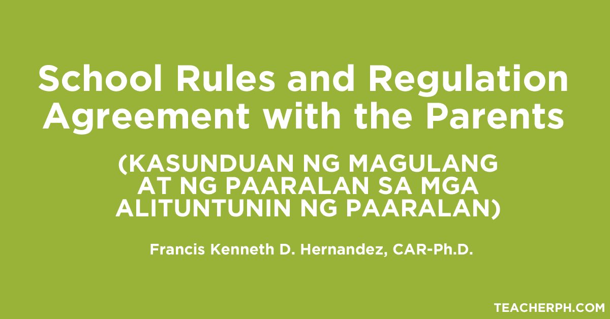 School Rules and Regulation Agreement with the Parents