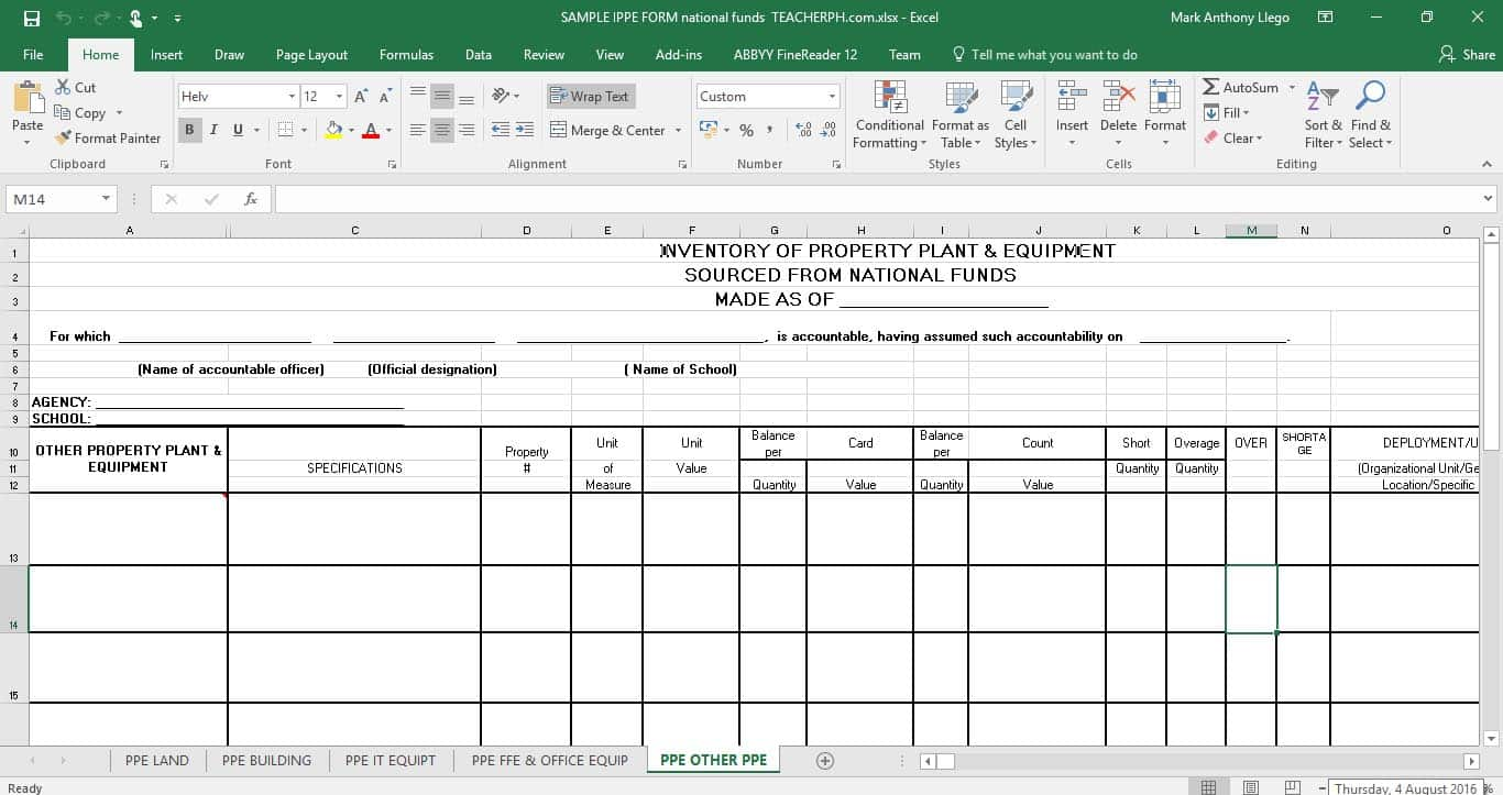 Inventory of Property Plant and Equipment (IPPE) FORM - NATIONAL FUNDS
