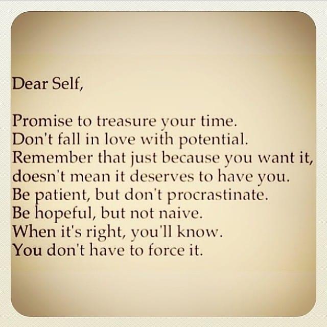 Dear Self note