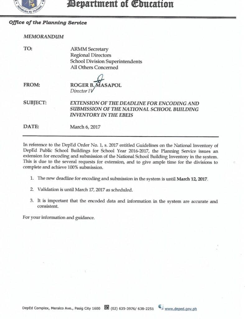DepEd Central Office Planning Service Memorandum