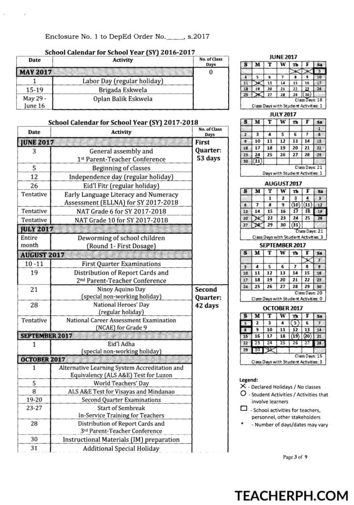 Deped School Calendar For School Year 2017 2018 Teacherph
