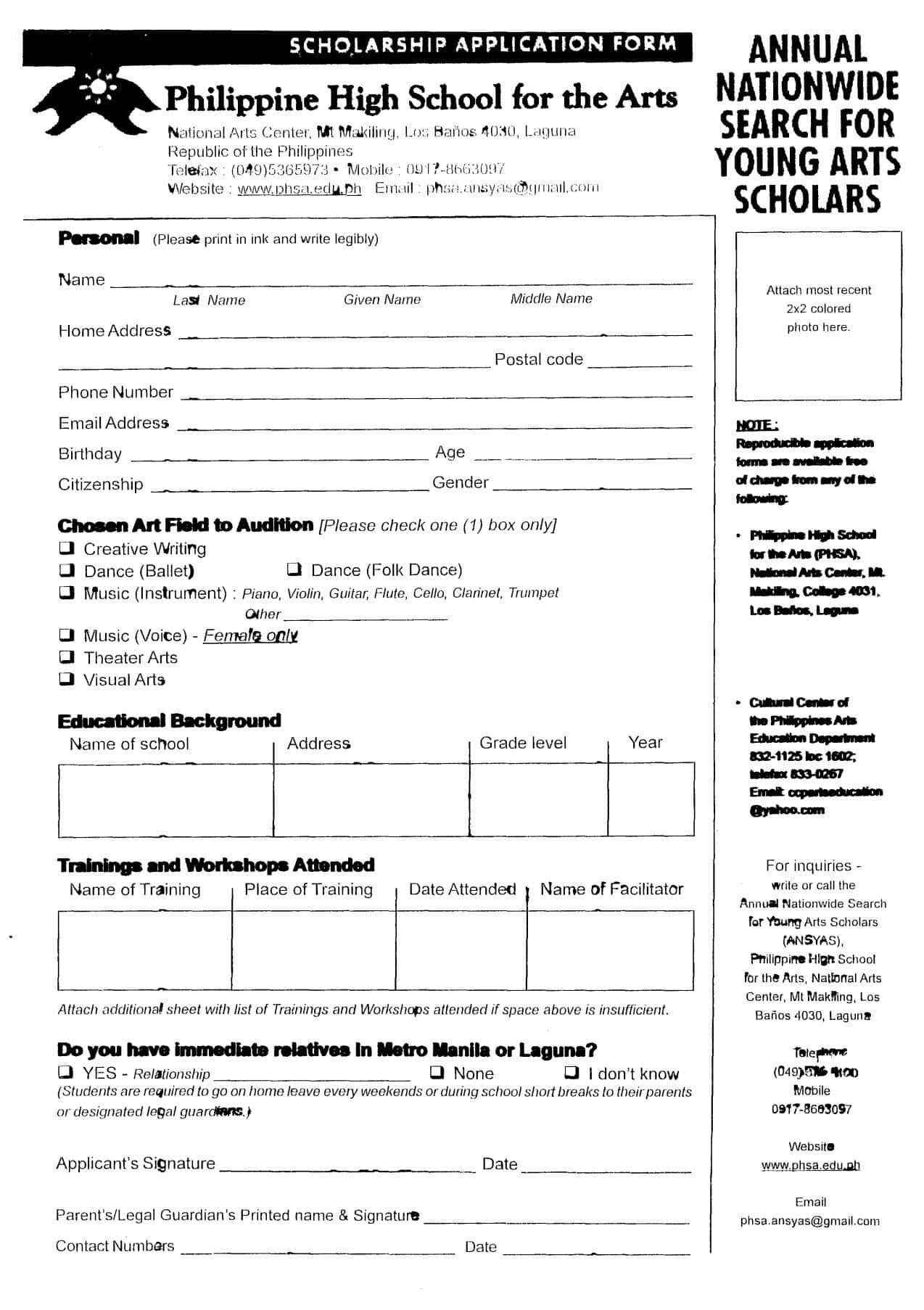 Philippine High School for the Arts Scholarship Form