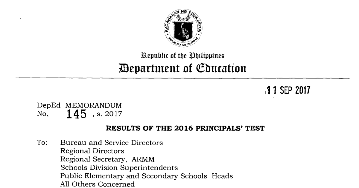 Results of the 2016 Principals' Test Official