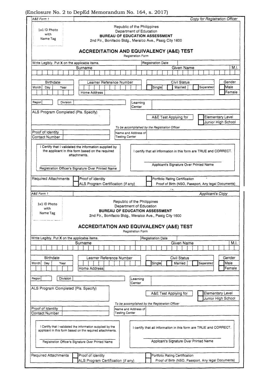 A&E Registration Form