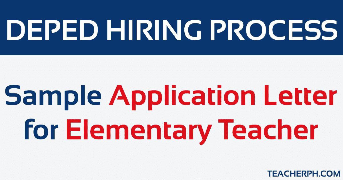 Sample Application Letter for Elementary Teacher