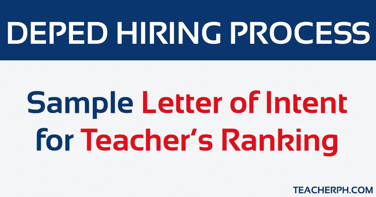 Sample Letter of Intent for Teacher's Ranking