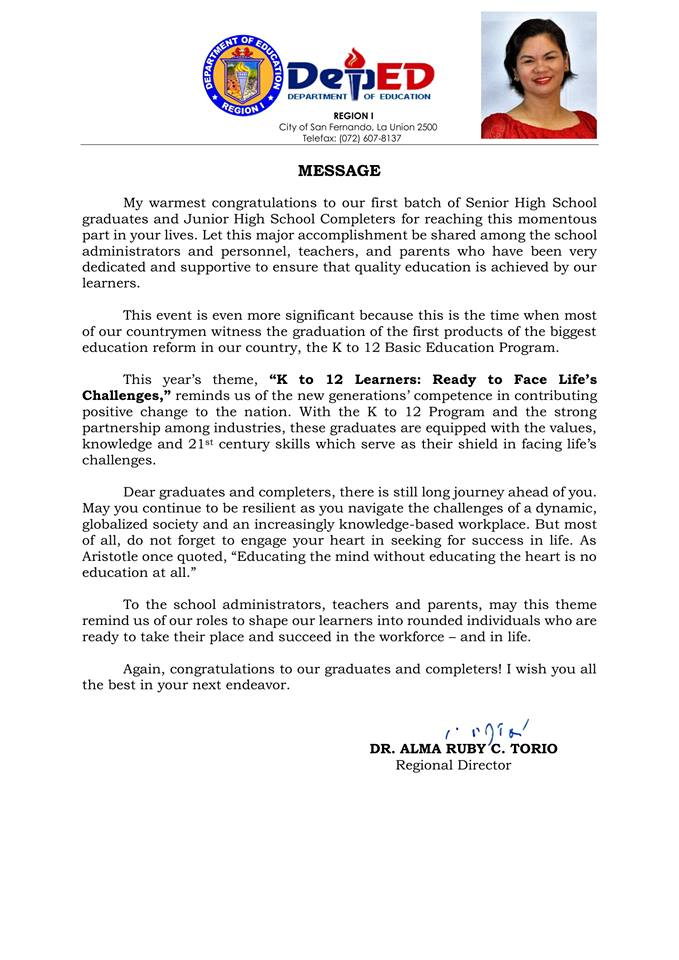 2018 Graduation Message of Alma Ruby Torio