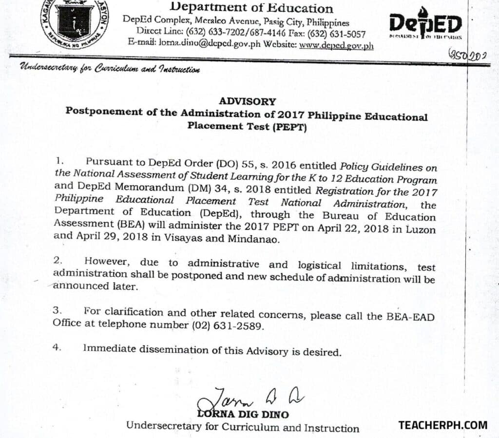 Postponement of the Administration of 2017 Philippine Educational Placement Test (PEPT)