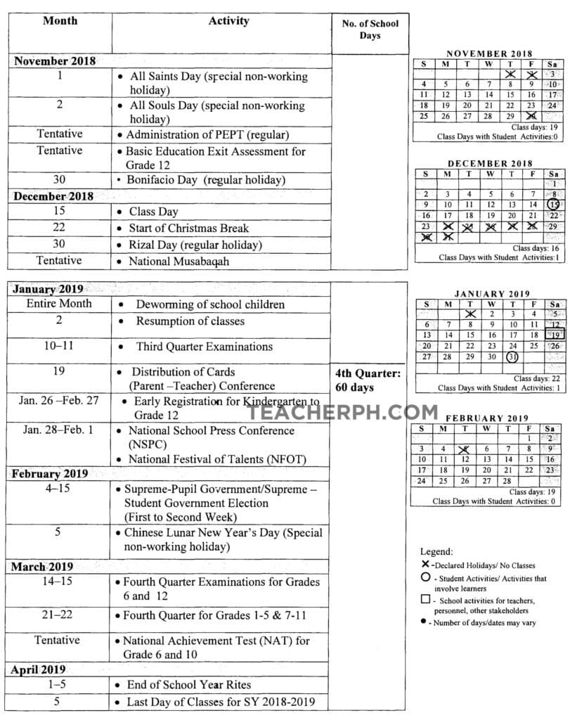 Deped School Calendar For School Year 2018 2019 Teacherph