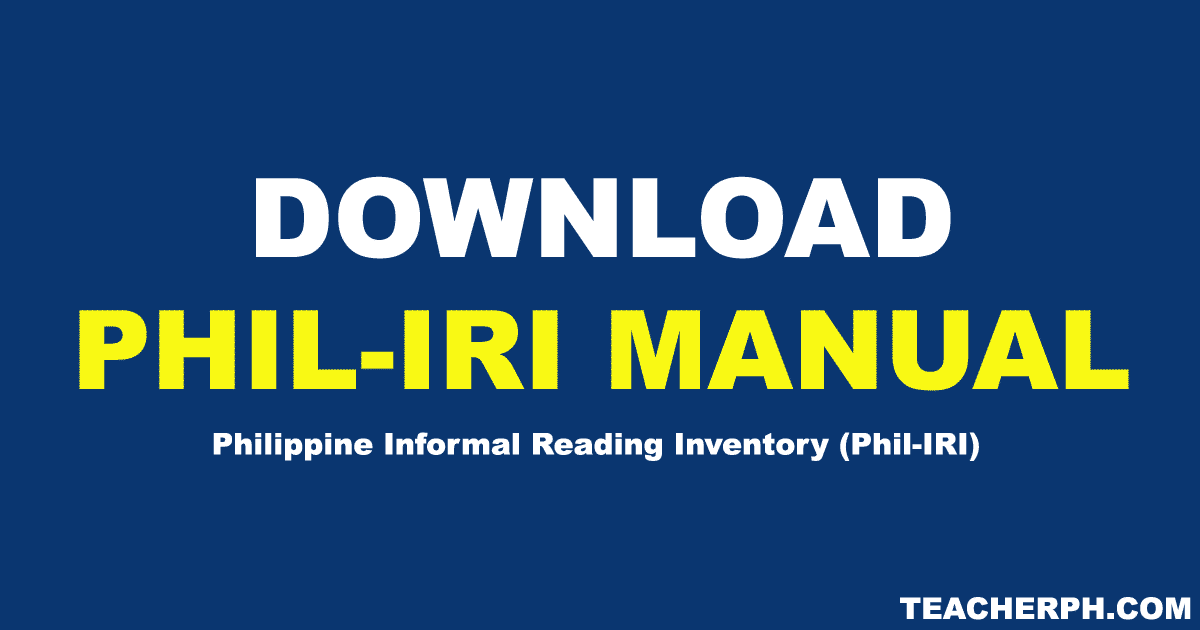 2018 Updated Phil-IRI Manual - TeacherPH