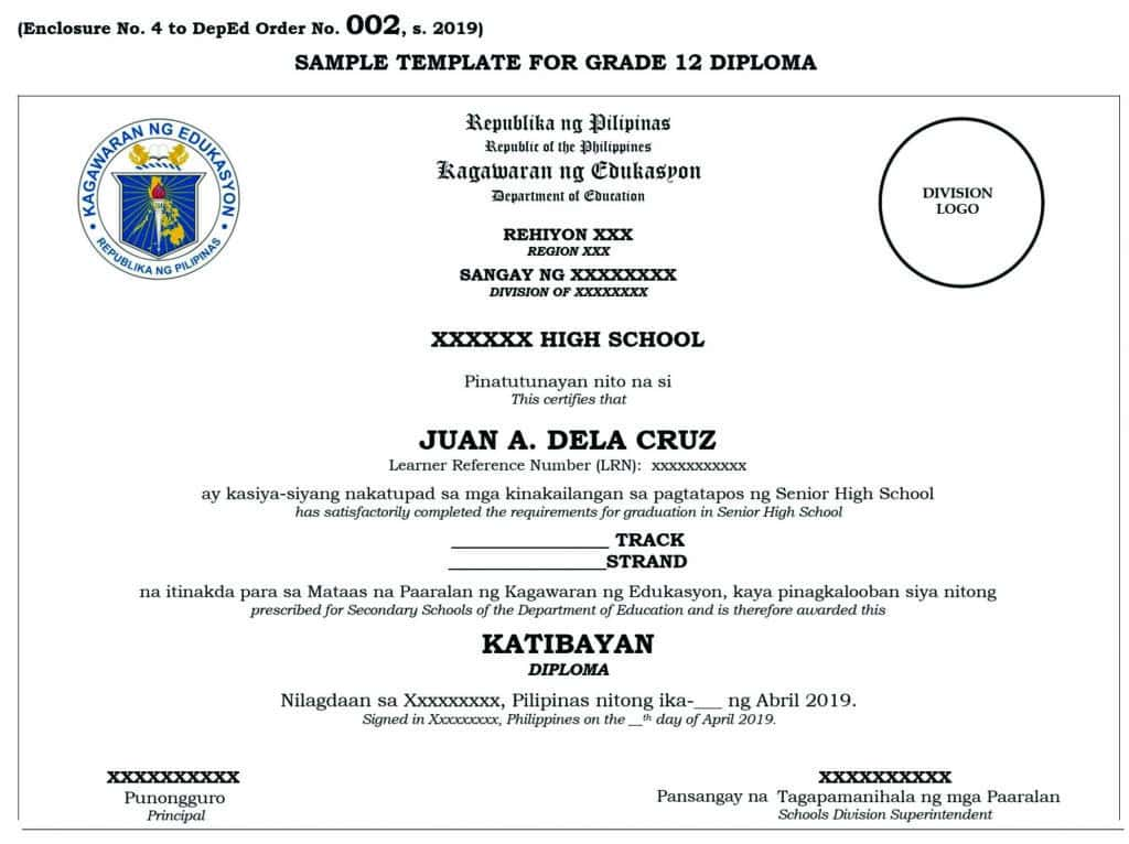 SAMPLE TEMPLATE FOR GRADE 12 DIPLOMA