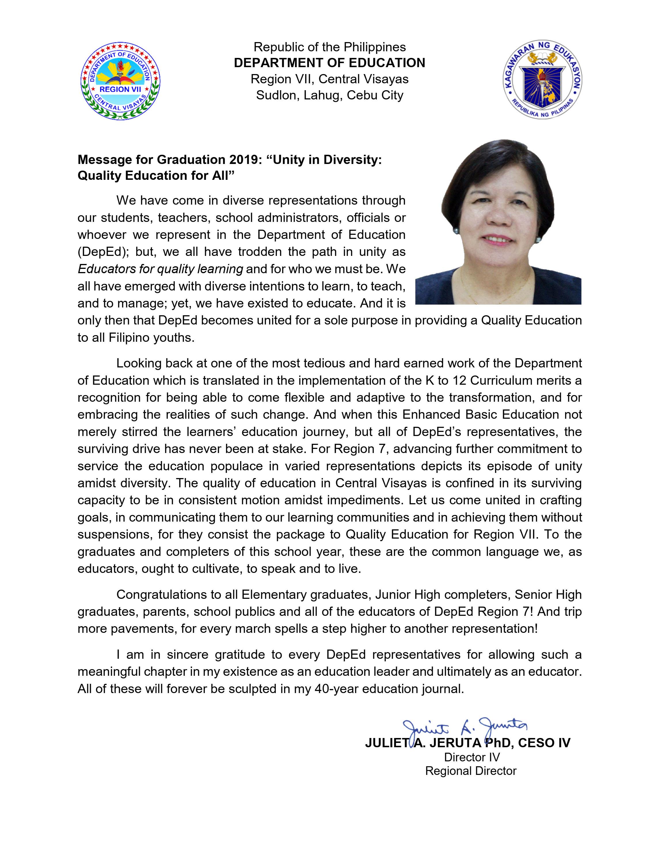 2019 Graduation Message of Regional Director Juliet A  Jeruta