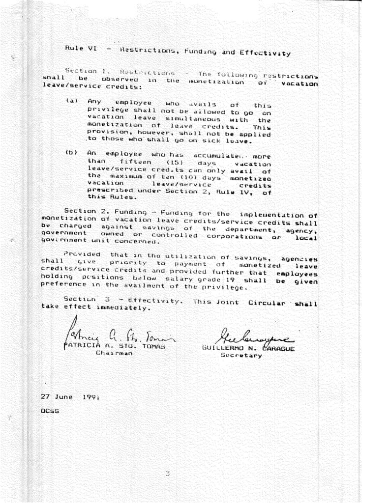 CSC-DBM Join Circular No. 1, s. 1991