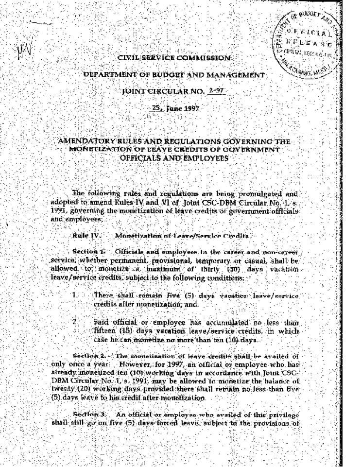 CSC-DBM Joint Circular No. 2-97, s. 1997
