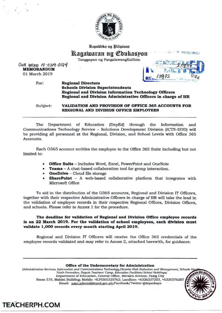 DepEd Memorandum UOA 14-0319-0124