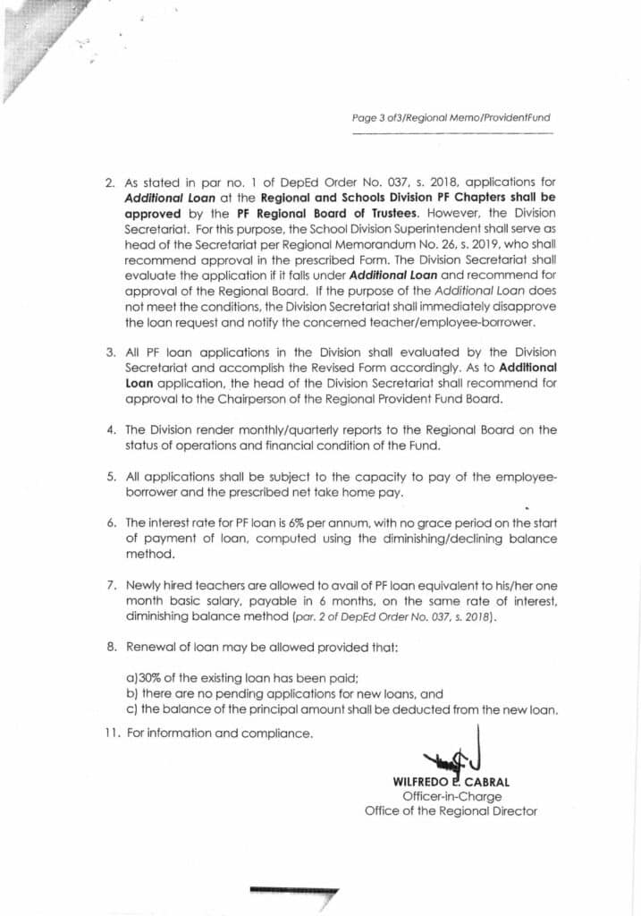 DepEd NCR Regional Memorandum No. 45 Provident Fund Loan Applications