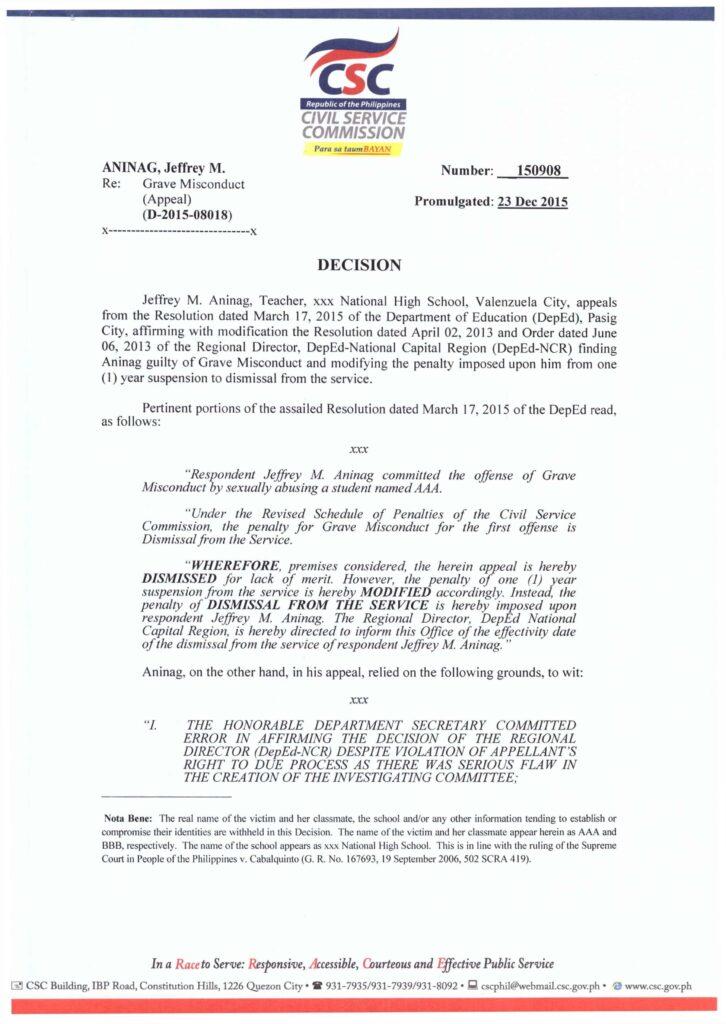 Grave Misconduct ANINAG, Jeffrey M., CSC Decision No. 15-0908