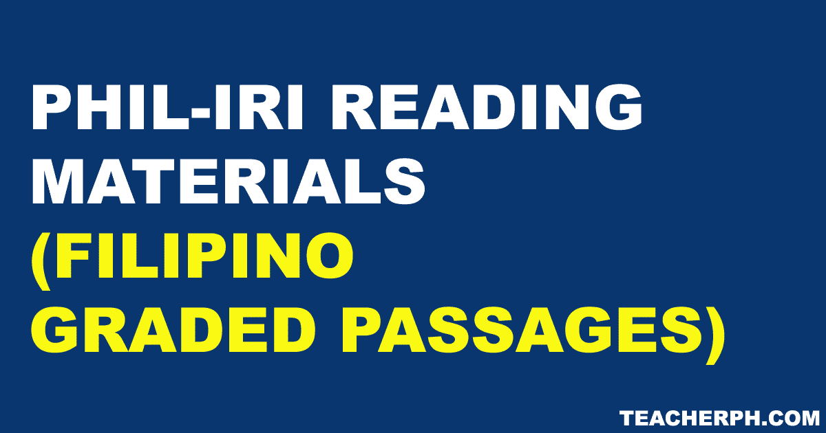Phil Iri Reading Materials Filipino Graded Passages