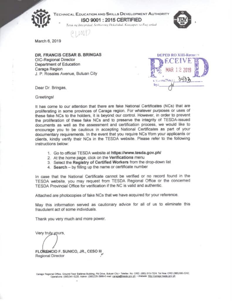 Precautionary Measures for Fake National Certificate (NC) Holders