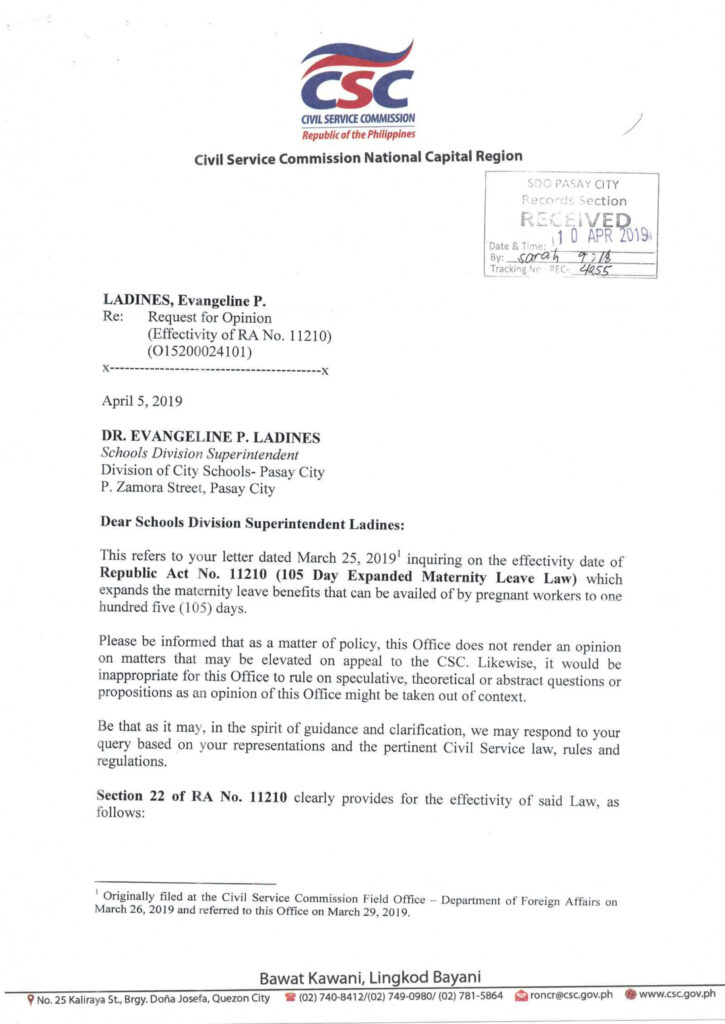 CSC CLARIFICATIONS ON THE 105 DAY EXPANDED MATERNITY LEAVE LAW (RA 11210)