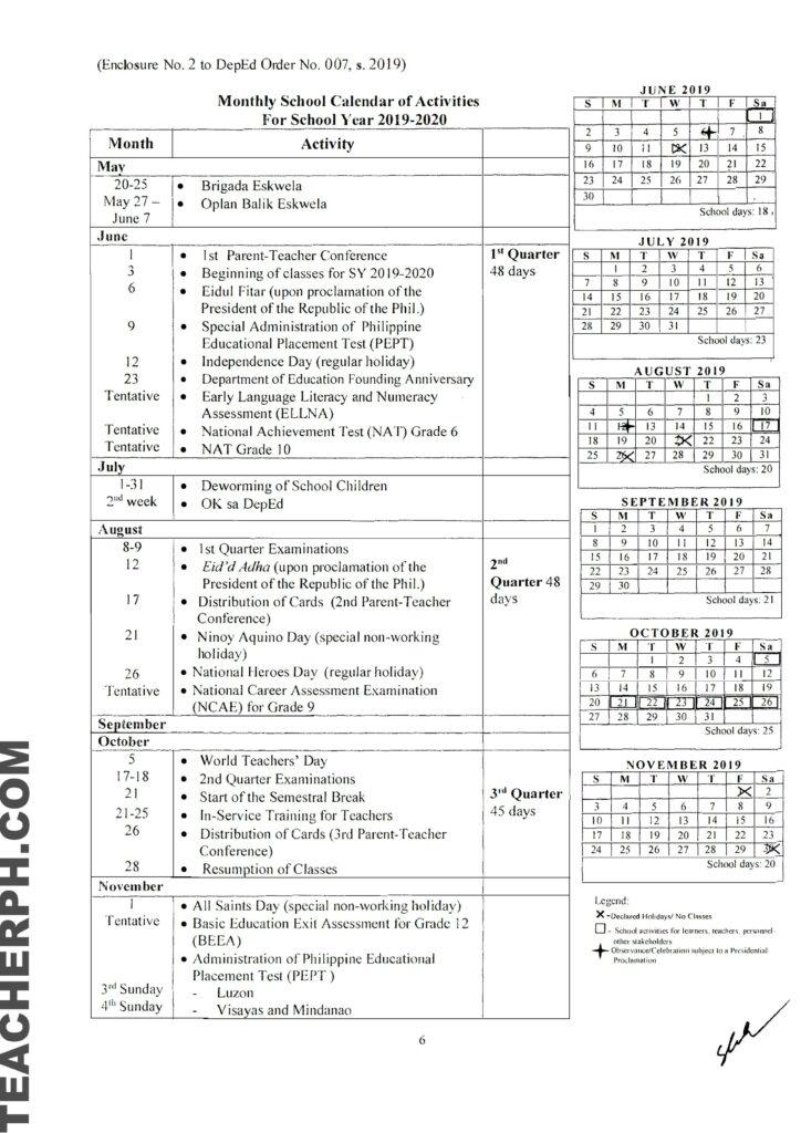 DepEd School Calendar for School Year 2019–2020