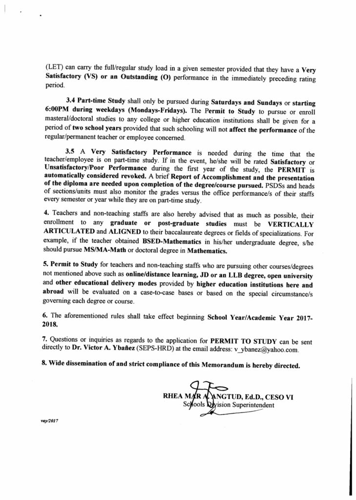 DepEd Application for Permit to Study