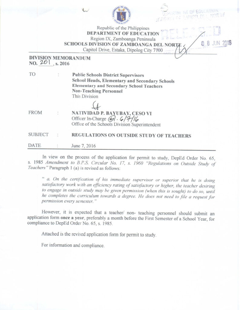 DepEd Application for Permit to Study - TeacherPH