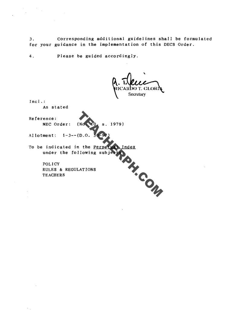 DECS ORDER NO. 57, S. 1997