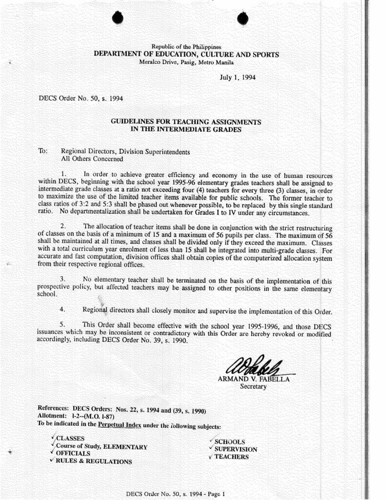 DECS Order No. 50, s. 1994
