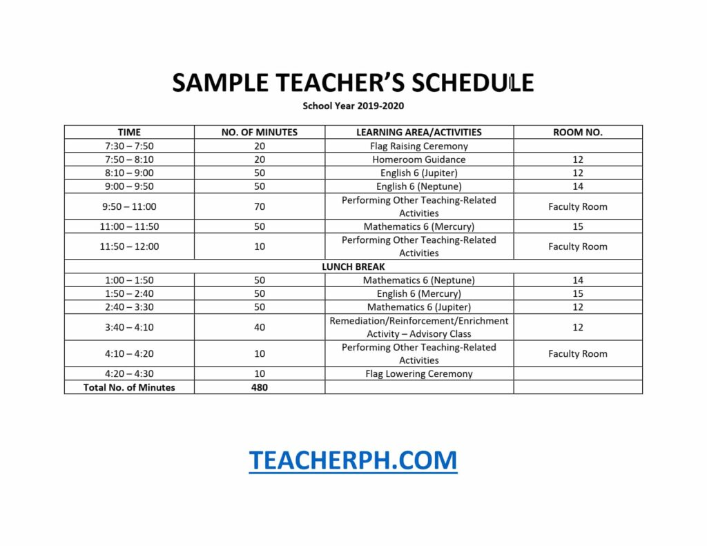 SAMPLE TEACHER'S SCHEDULE