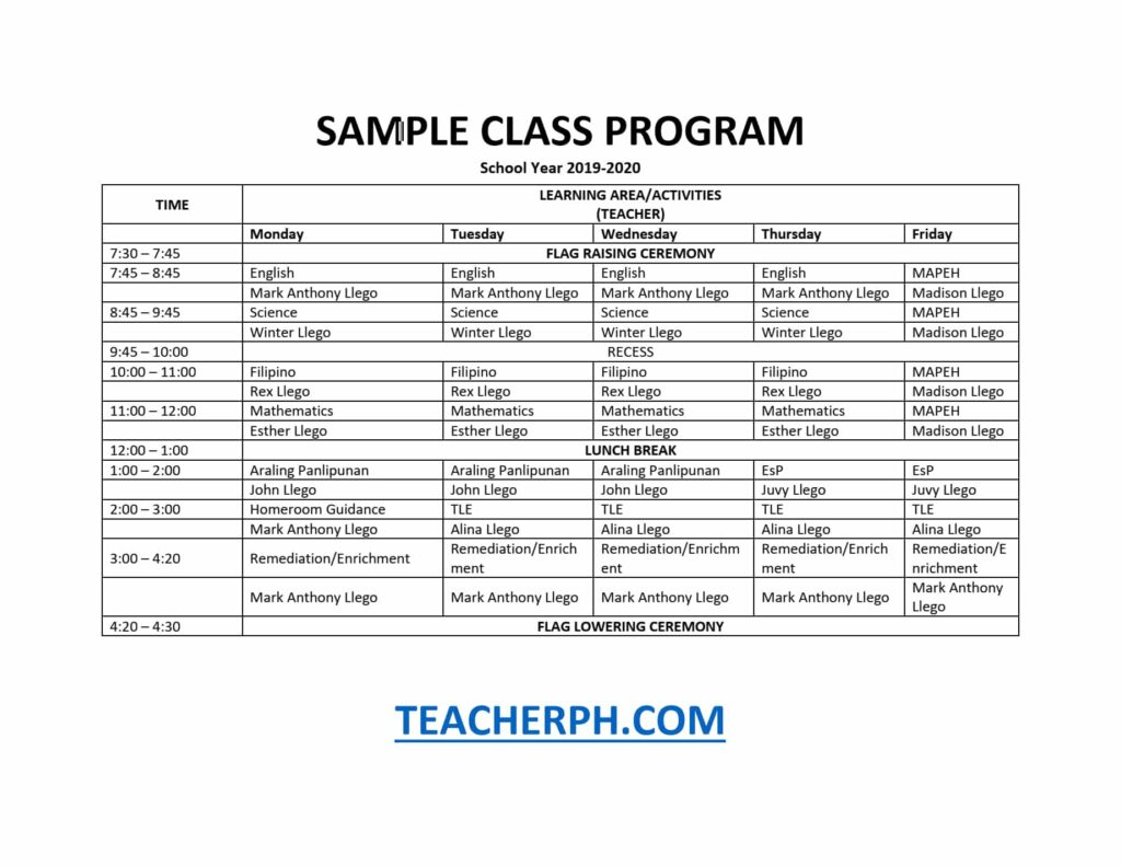DepEd Sample Class Program and Teacher's Schedule - TeacherPH