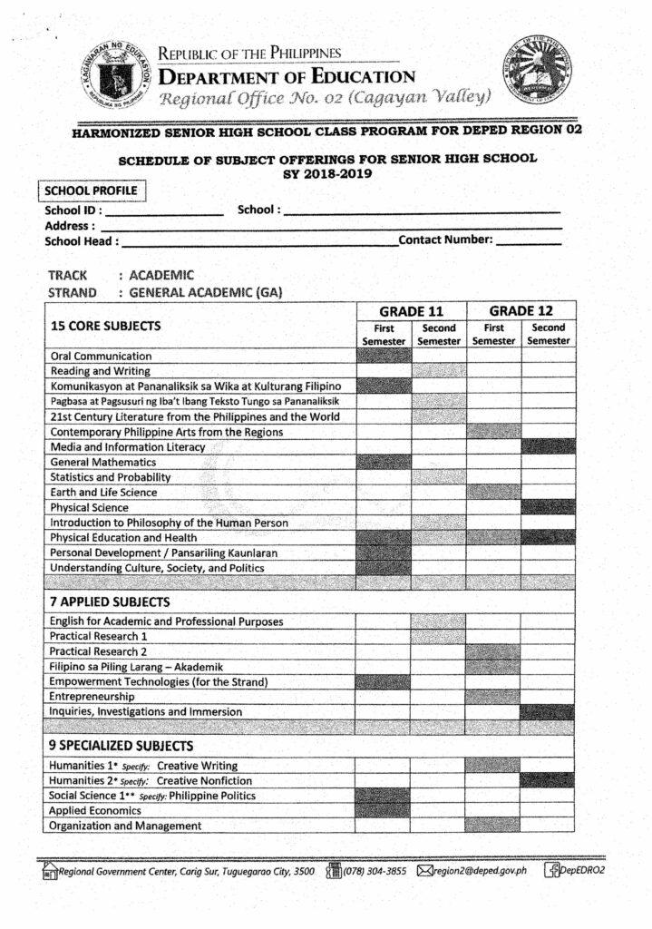Harmonized Senior High School Class Program Academic Track