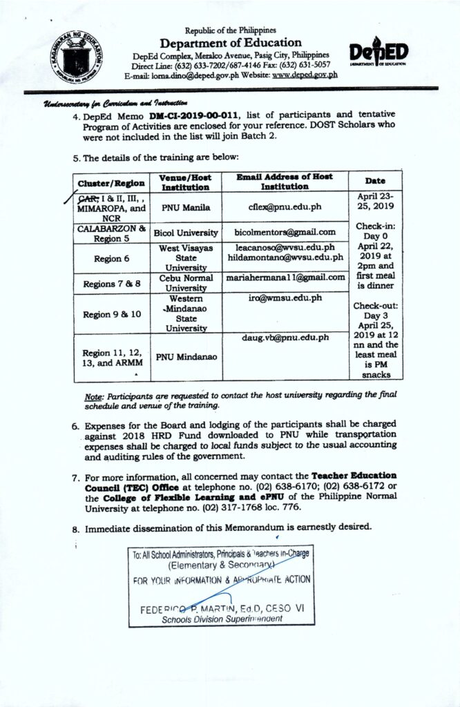 Schedule of Training Program for Newly-hired Teachers (DOST Scholars under RA 10612)