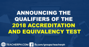 ANNOUNCING THE QUALIFIERS OF THE 2018 ACCREDITATION AND EQUIVALENCY TEST